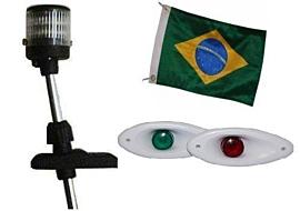 Kit Mastro de Popa 12v Led + Olho de Tubarão Led + Bandeira