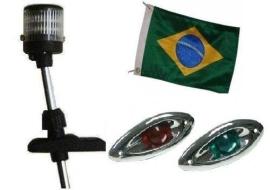 Kit Mastro de Popa Luz Led 12v + Olho de Tubarão Cromado em Led + Bandeira - [Kit com Luz Led]
